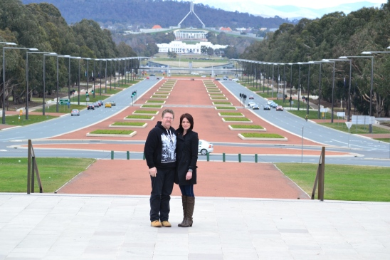 Rhiannon and her dad with Anzac parade in the background..hubbies birthday is Anzac day...