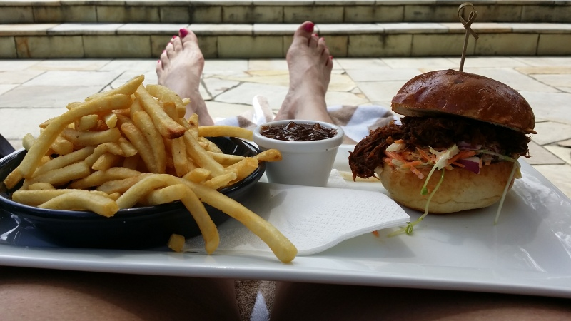 Pulled pork rolls poolside