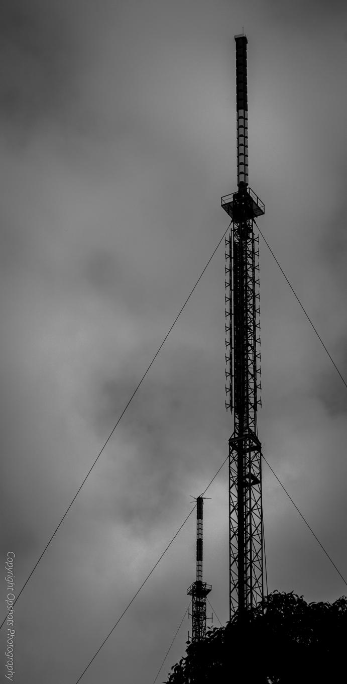 Winter fog on mountain tower