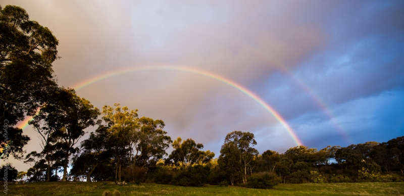 Double rainbow viewed from my back paddock overlooking our house.